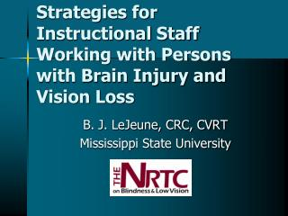 Strategies for Instructional Staff Working with Persons with Brain Injury and Vision Loss