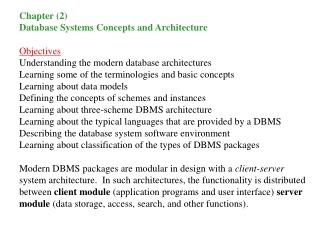 Database Management Systems  Chapter 3  The Relational Data Model I