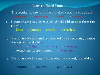 Notes on Plural Nouns