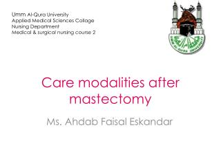 Care modalities after mastectomy
