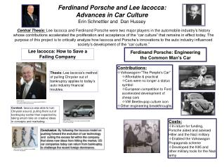 Ferdinand Porsche and Lee Iacocca:  Advances in Car Culture Erin  Schnettler  and  Dan Hussey