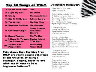 Top 10 Songs of 1967: