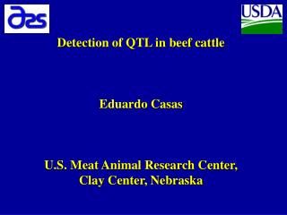 Detection of QTL in beef cattle Eduardo Casas U.S. Meat Animal Research Center, Clay Center, Nebraska