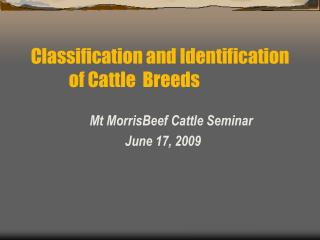 Mt MorrisBeef Cattle Seminar            June 17, 2009