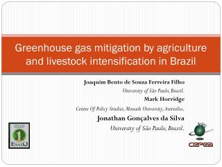 Greenhouse gas mitigation by agriculture and livestock intensification in Brazil