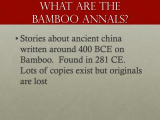 What are the Bamboo Annals?
