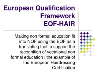 European Qualification Framework  EQF-HAIR