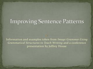 Improving Sentence Patterns