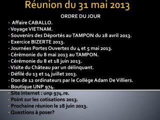 Réunion du 31 mai 2013