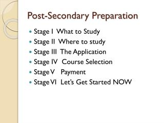 Post-Secondary Preparation
