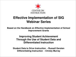 Effective Implementation of SIG Webinar Series Based on the Handbook on Effective Implementation of School Improvement G