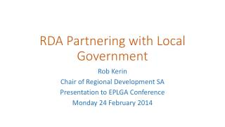RDA Partnering with Local Government
