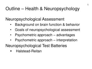 Outline – Health & Neuropsychology