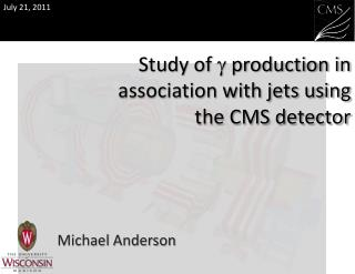 Study of  g  production in association with jets using  the CMS detector