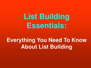 The List Building Bulletin