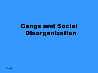 Gangs and Social Disorganization