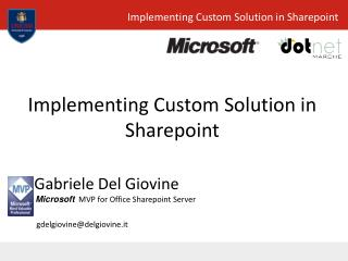 Implementing Custom Solution in Sharepoint