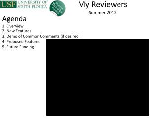 My Reviewers  Summer  2012