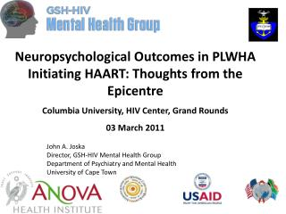 Neuropsychological Outcomes in PLWHA Initiating HAART: Thoughts from the  Epicentre