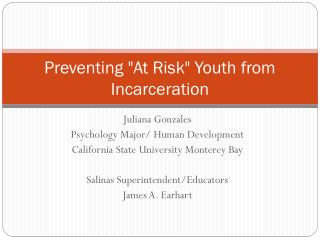 "Preventing ""At Risk"" Youth from Incarceration"