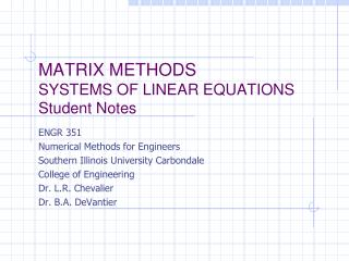 MATRIX METHODS SYSTEMS OF LINEAR  EQUATIONS Student Notes