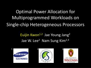 Optimal Power Allocation for Multiprogrammed Workloads on  Single-chip Heterogeneous Processors