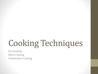 Cooking Techniques