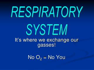 It's where we exchange our gasses!  No O 2  = No You