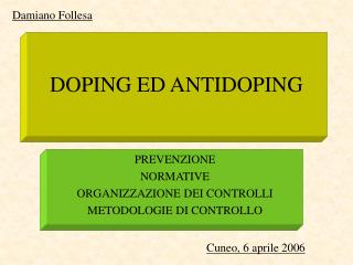 DOPING ED ANTIDOPING