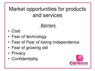 Market opportunities for products and services