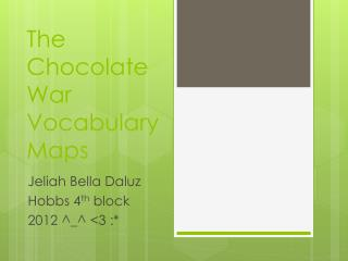 The Chocolate War Vocabulary Maps