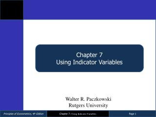 Chapter  7 Using Indicator Variables