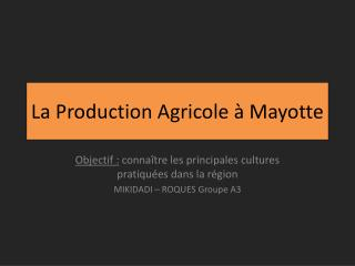La Production Agricole à Mayotte