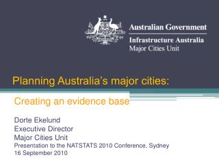 Planning Australia's major cities: