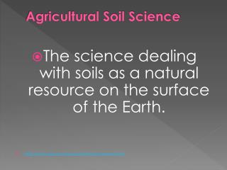 Agricultural Soil Science