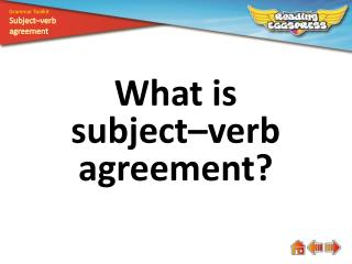 What is subject–verb agreement?