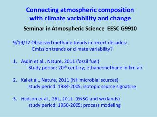 Connecting atmospheric composition  with  climate variability and change