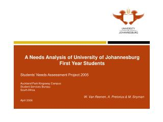 A Needs Analysis of University of Johannesburg First Year Students