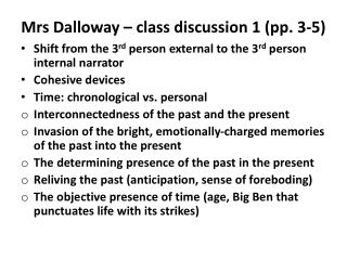 Mrs  Dalloway – class discussion 1 (pp. 3-5)