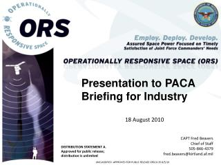 Presentation to PACA Briefing for Industry 18 August 2010