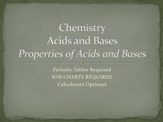 Chemistry Acids and Bases Properties of Acids and Bases