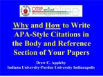 Why and How to Write APA-Style Citations in the Body and Reference Section of Your Papers