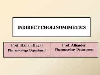 INDIRECT CHOLINOMIMETICS
