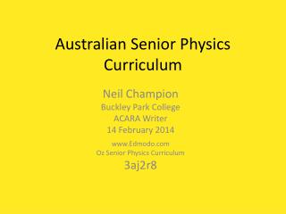 Australian Senior Physics Curriculum