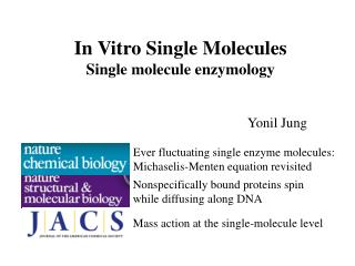 In Vitro Single Molecules Single molecule enzymology