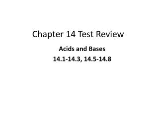 Chapter 14 Test Review
