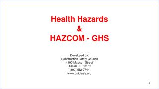 Health Hazards & HAZCOM - GHS