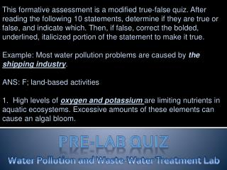 Water Pollution and Waste-Water Treatment Lab