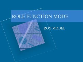 ROLE FUNCTION MODE