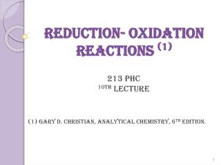 Reduction- Oxidation  Reactions  (1)